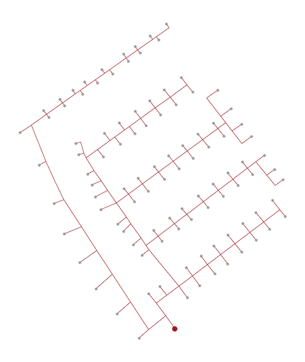 Netztopologie basierend auf der technischen Zeichnung
